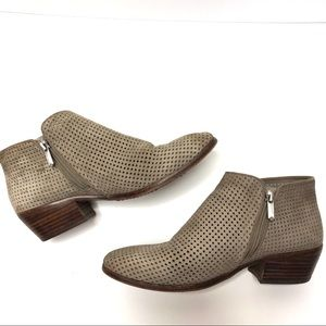 Sam Edelman Perforated Suede Ankle Booties Taupe